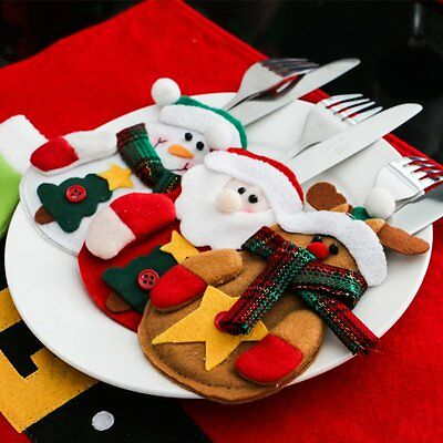 10 x Christmas Santa Holder Dinner Table Decor Cutlery Silverware Bag Pockets