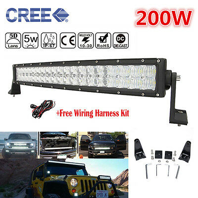 """5D CREE LED Combo Work Light Bar 22""""INCH Offroad Driving Lamp Truck BUS 4WD 200W"""