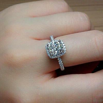 Womens Engagement Diamonique Cz 925 Sterling Silver Filled Wedding Ring Size 5-9