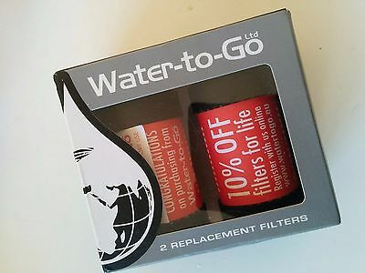 2 replacement filters (lasting 3 months each) for Water-to-go filter bottle