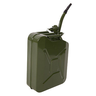 20L 5 Gallon Army Green Jerry Can Fuel Gas Steel Backup Tank w/ Spout Sealed HOT
