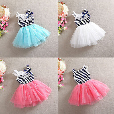 Girls Dress Stripe Vintage Lace Tulle TuTu Party Birthday Dress 1-7 years