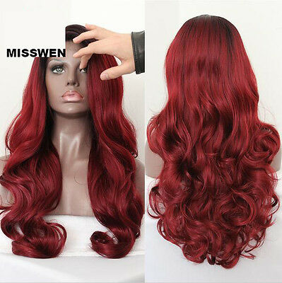 "18-24""Heat resistant Lace front wig Synthetic hair Body wavy Ombre 1B/Bug"