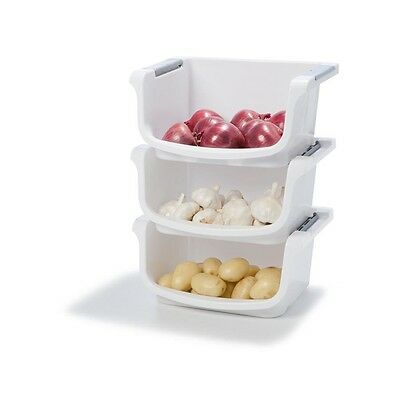 3x Plastic Storage Containers Stacking Bins Basket Fruits Vegetable Whit