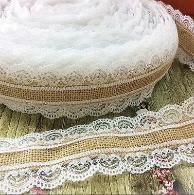 DIY 2M manual Christmas wedding Decor Natural Jute Both sides lace Burlap Ribbon