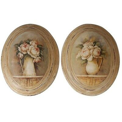 "Set 2 cadres médaillon ""roses"", Antic Line, style shabby chic"