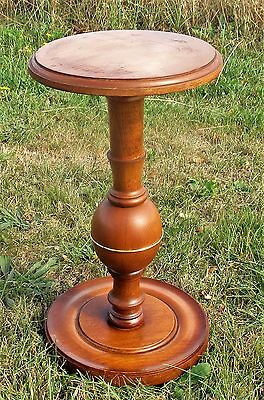 Small Vintage Wood Brass Pedestal Table Plant Stand  Side Table  18.11""