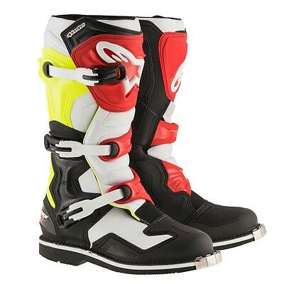 Alpinestars 2017 Tech 1 Boots Black/white/fluo/red Motocross Mx Off Road Cheap