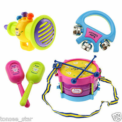 Hot 5pcs Kids Baby Roll Trommel Musical Instruments Band Kit Children Toy Gift