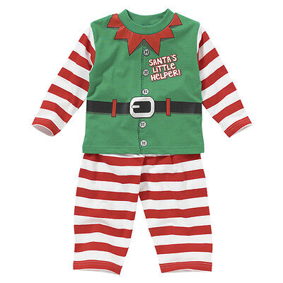 Baby Toddler Boys Santa's Little Helper Elf Novelty Christmas Dress Up Pyjamas