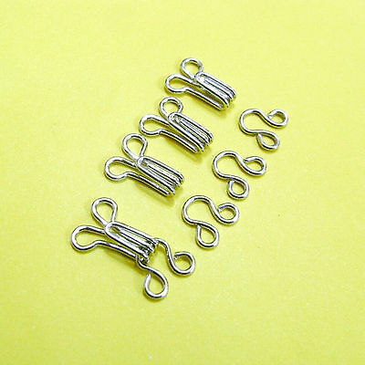 20 Hooks & Eyes Metal Hold Edges Repairs Craft Sewing Notion Size 2 (M) Silver