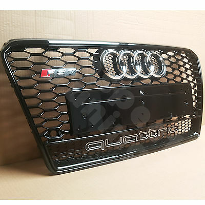 Pt Audi A7 S7 To Rs7 Front Gloss Black Grille Chrome Rings Quattro 10 - 14