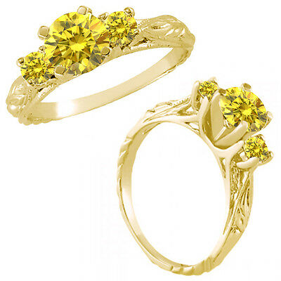 1 Ct Yellow Diamond Fancy 3 Three Stone Engagement Wedding Ring 14K Yellow Gold