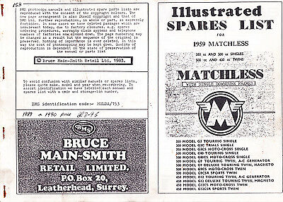 Matchless Illustrated Spares List, 1959, Bruce Main-Smith copy 1983