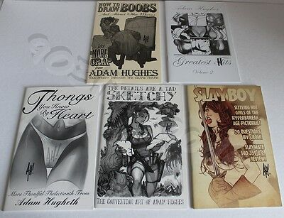 Lot Of Five Sketchbooks *signed By Adam Hughes