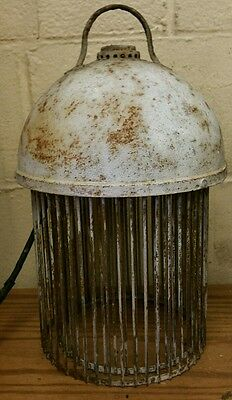 Vintage Industrial Factory Warehouse Barn Cage Safety Light Fixture Chandelier