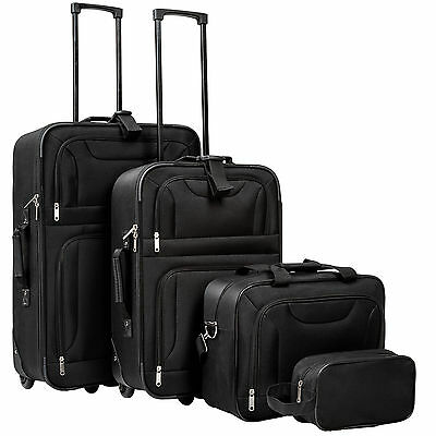 Set of 4 travel luggage with wheels trolley suitcase soft shell bag lightweight