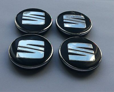 SET OF 4 SEAT ALLOY WHEEL BADGES CENTER HUB CAPS 56mm Black / Silver Logo