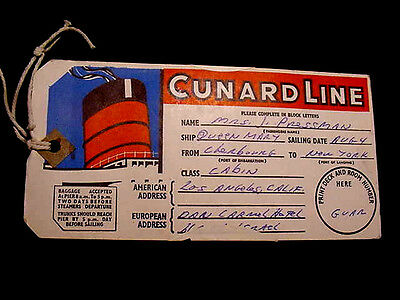 1966 LAST VOYAGES,RMS,QUEEN MARY,CUNARD LINE,FIRST CLASS,LUGGAGE TAG,New York,NY