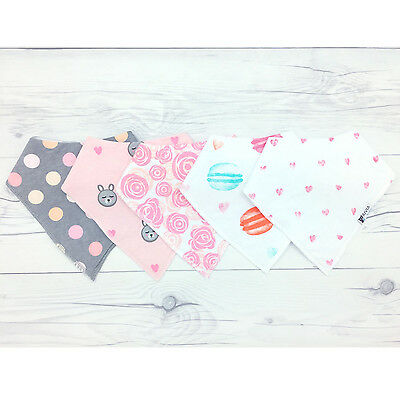 """Baby Bandana Drool Bibs """"Sweet Heart Collection"""" 5-Pack Gift Set For Girls -SALE"""