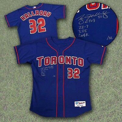 Roy Halladay Toronto Blue Jays Autographed Pro 2003 CY Young Stat Jersey #/32
