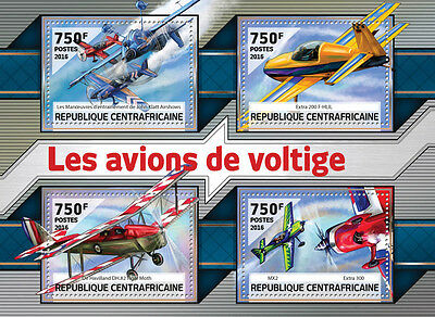 Central African Rep 2016 MNH Aerobatic Planes 4v M/S Aircraft Aviation Stamps