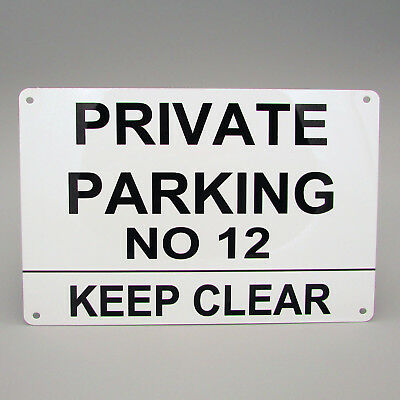 PERSONALISED PRIVATE PARKING SIGN Custom Metal Keep Clear Driveway Reserved