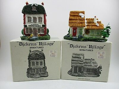 Lot of Two Dickens Miniatures Fezziwig Warehouse and Cottage EUC