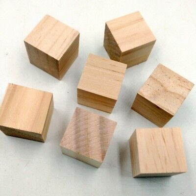 20pcs Natural Unfinished Wooden Blocks Cubes Embellishments for Scrapbooking