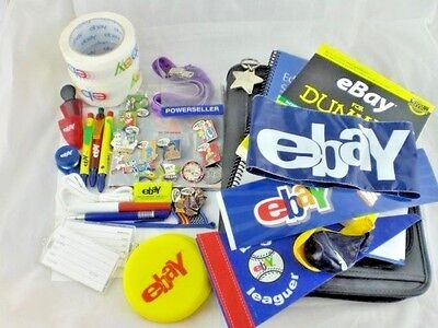 Huge Lot of eBay Branded Merchandise Swag Ebayana Book Pens Packing Tape Pins