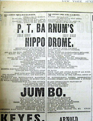 1883 NY City newspaper w Lg ad JUMBO the ELEPHANT appearing at P T BARNUM CIRCUS