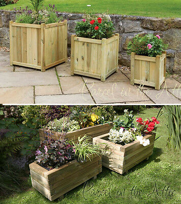 Solid Wood Outdoor Set of 3 Nest Planters for Garden, Allotment, Patio