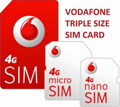 Vodaphone Pay As You Go PAYG - Includes Standard, Micro & Nano Sim Card Pack