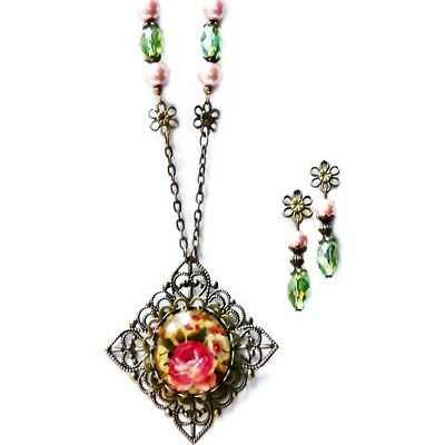 Rose Cameo Glass Pendant vintage style bronze necklace earrings set pink green