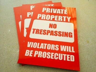 Private Property No Trespassing Pack 3 Metal Safety Signs 225x300mm Free Post