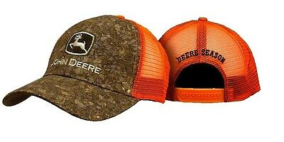 JOHN DEERE *CAMO TWILL w/BLAZE ORANGE MESH* Trademark CAP HAT *BRAND NEW* C14
