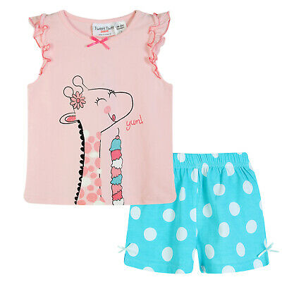 Girls PJs Size 0-2 Summer 2pc Cotton Short Sleeve Pyjamas Set Pink Giraffe