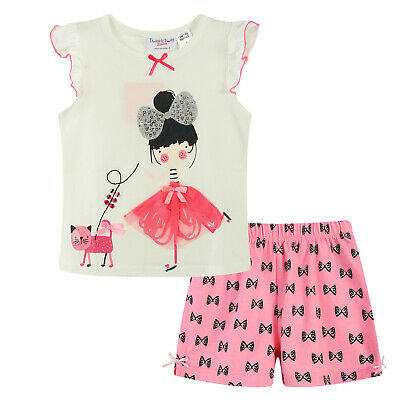 Girls PJs Size 0-2 Summer 2pc Cotton Short Sleeve Pyjamas White Girl with Cat
