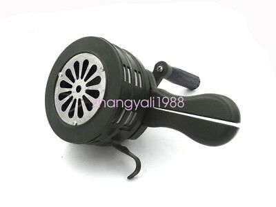 Handheld Loud Hand Crank Manual Operated Air Raid Alarm Portable Siren Green