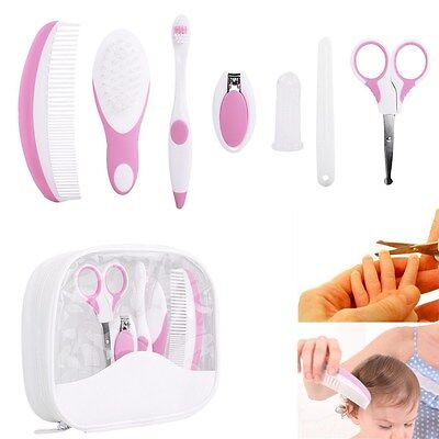 7pcs Baby Infant Comb Toothbrush Nail Clipper Healthcare & Grooming Kit Set Pink
