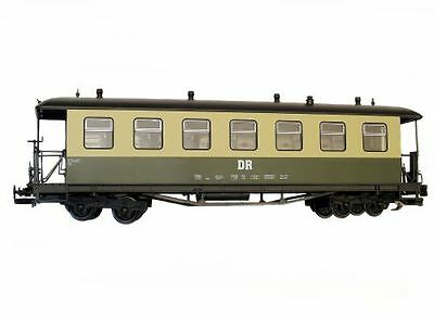 Train Passenger car, Arched roof, green beige, DR, G Scale