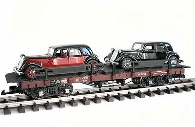 Zenner Car carrying truck 15CV Citroen,G Scale,Bachmann Flat wagon;