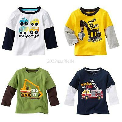 Kids Boy Toddler Long Sleeve Cotton T-shirt Clothes Blouse Tops Tee Shirts Coat