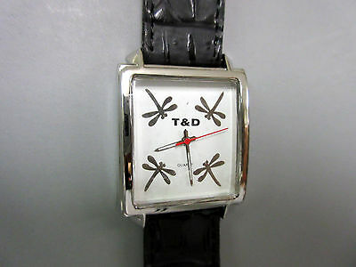 New Black Dragonfly Square Watch 4 Dragonflies in Dial Leather Band