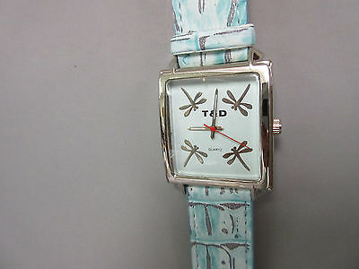 New Teal Dragonfly Square Watch 4 Dragonflies in Dial Leather Band