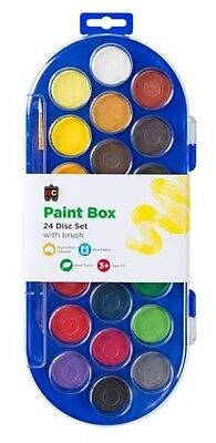 Deluxe Watercolour Paint Box Set - WITH A BRUSH -  22 Colours. Childs paint tray