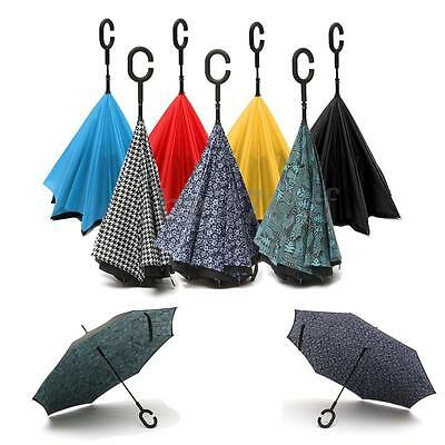 Windproof Double 2 Layer Reverse Umbrella C Handle Inverted Upside Down Gift NEW