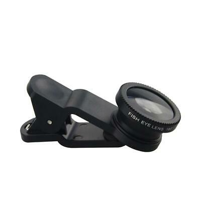 Black New 3in1 Fish Eye+Wide Angle+Macro Lens Clip On Camera Lens Kit For Phones