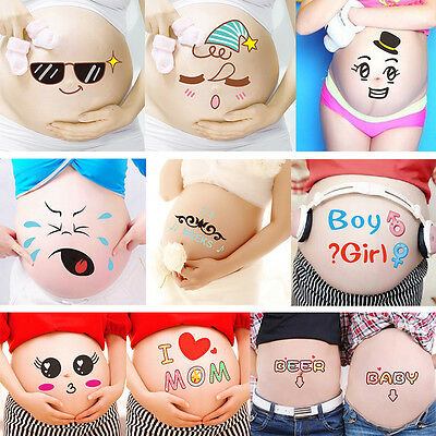 Maternity Mom Belly Stickers Baby Shower Photoprops Gender Reveal Party Keepsake
