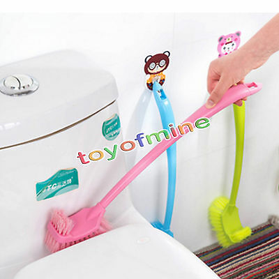 Great Long Handle Bathrooms WC Toilet Scrub Double Side Cleaning Brush Holders